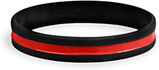 Firefighter Support Thin Red Line Silicone Bracelet in a Bag
