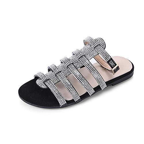 QLIGHA Sandalias de Mujer Zapatos con Correas de Tobillo Zapatillas de Cristal al Aire Libre Sandalias de Diamantes de imitación de Moda para Adultos