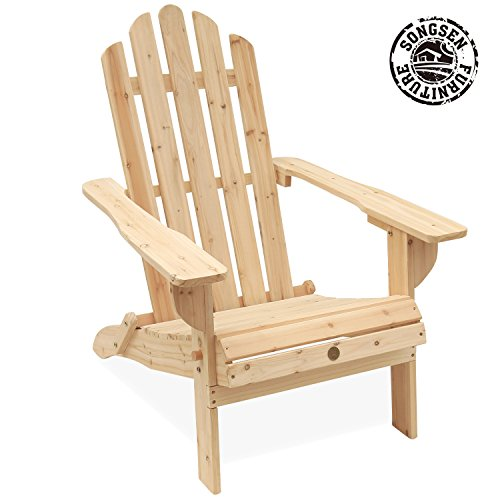 AZBRO Songsen Unfished Outdoor Wooden Folding Adirondack Chairs Patio Deck...
