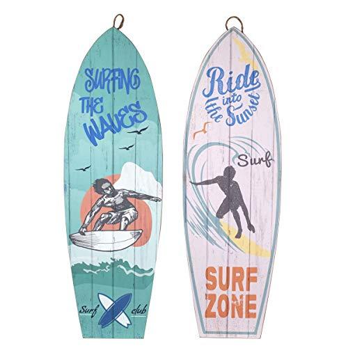 CAPRILO. Set de 2 Adornos Pared Decorativos de Madera Tablas Surf Surfer. Cuadros y Apliques. Regalos Originales. Decoración Hogar. Muebles Auxiliares. 75 x 24 x 1 cm.