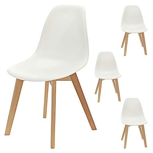 Esszimmerstuhl 4er Set | im skandinavischen Lounge Möbel Stil | mit stabilen Holzbeinen aus Buche | (4X weiß)
