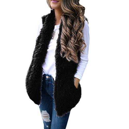 Faux Fur Vest Women Waistcoat Sleeveless Jacket Spring Outerwear Gilet with Pockets Open Front Sleeveless Cardigans Black