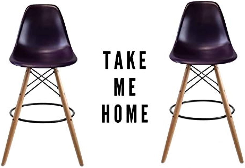 Take Me Home Furniture Eames Eiffel Stool Wood 26  in Purple Set of 2