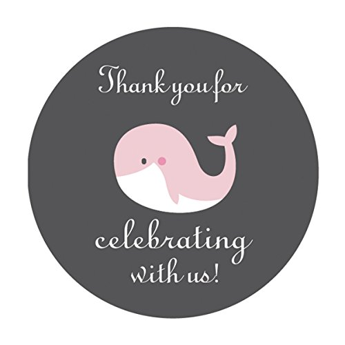 MAGJUCHE Pink Grey Whale Thank You Stickers, Girl Baby Shower Party Favor Labels, 2 Inch, 40-Pack
