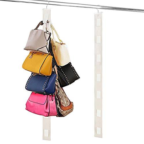Relavel Hanging Purse Organizer Handbag Rack For Closet Storage Holder for Purses Handbags with Hook (1 Pack Beige)