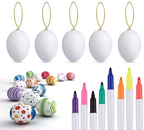 Philonext 50pcs Easter White Plastic Eggs Easter Eggs Hanging Plastic Eggs with Rope Artificial product image