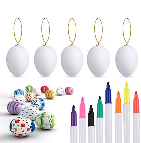 Philonext 50pcs Easter White Plastic Eggs, Easter Eggs, Hanging Plastic Eggs with Rope ,Artificial Egg DIY Decor Egg with 8 pens