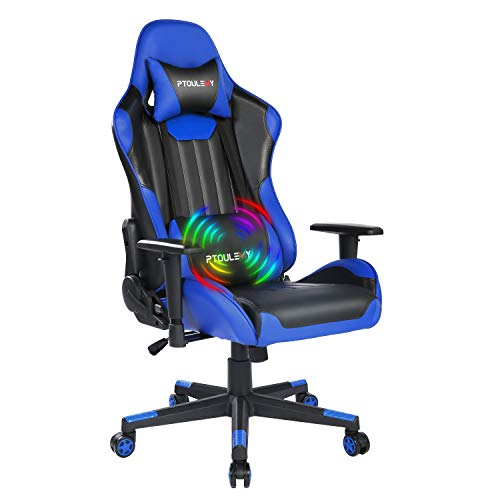 Ptoulemy Massage Gaming Chair Big and Tall Video Game Chair Heavy Duty 360 Swivel Ergonomic Computer...