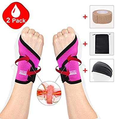 Maxjoy Wrist Brace, Wrist Support / Wrist Straps / Wraps Support / Hand Support / Carpal Tunnel Wrist Braces for Men, Women, Sports Injuries Pain Relief, Fit for Right and Left Hands, Rose Red