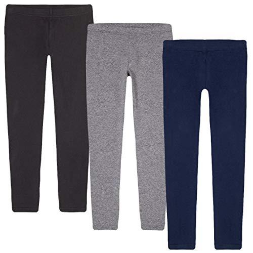 KIDIK Basic Leggings 3PACK- (X-Small, Black/Grey/Blue)