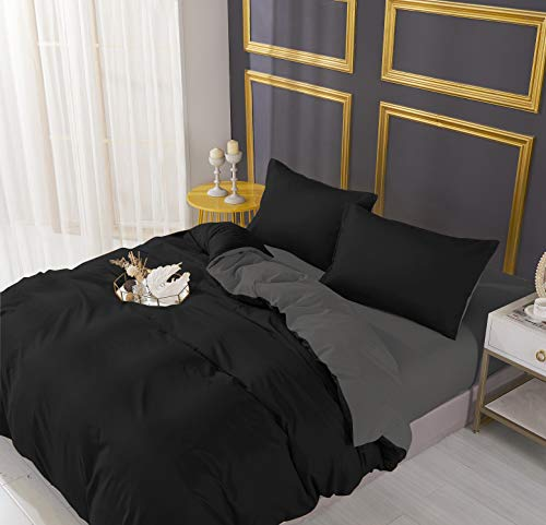 Adam Home Luxury Reversible Duvet Cover Set Bedding Duvet Sets With Pillowcase Covers & Fitted Sheet | Brushed Microfiber Duvets & Quilt Covers Single Duvet Cover Set Black Grey