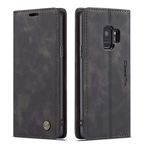 QLTYPRI Hülle für Samsung Galaxy S9, Vintage Dünne Handyhülle mit Kartenfach Geld Slot Ständer PU Ledertasche TPU Bumper Flip Schutzhülle Kompatibel mit Samsung Galaxy S9 - Schwarz