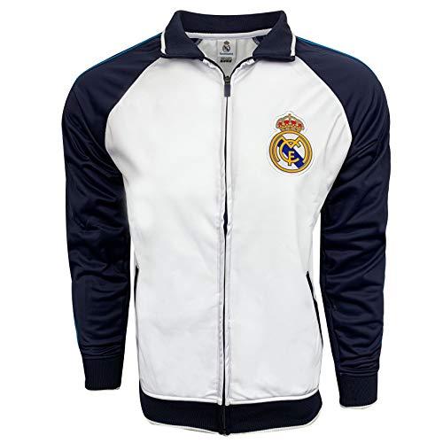 Rhinox Real Madrid White Jacket, Licensed Real Madrid Track Jacket (Medium)