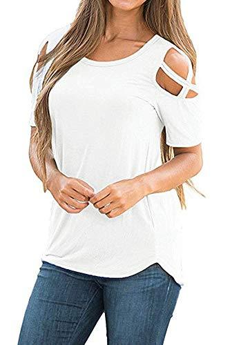 NICIAS Damen Sommer Kurzarm T-Shirt Oberteil Schmales Strappy Cold Shoulder Rundhal Hemd Lässige Tunika Bluse Shirt (Weiß, Small)
