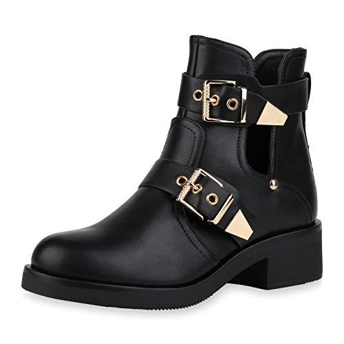SCARPE VITA Damen Ankle Boots Cut Out Stiefeletten Schnallen Leder-Optik Schuhe Blockabsatz Booties Kurzschaft-Stiefel 186683 Schwarz Gold 36