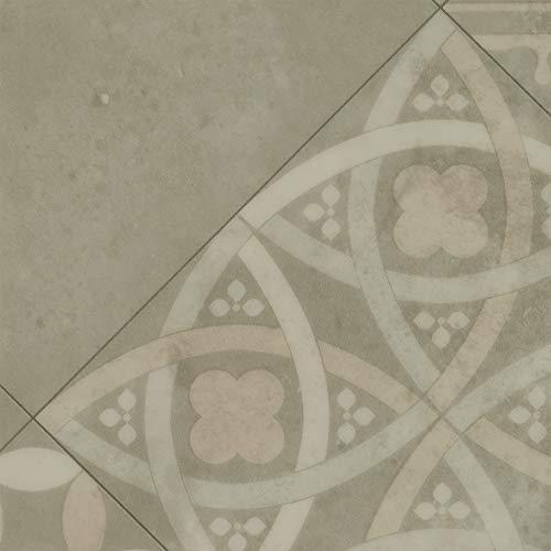 BODENMEISTER BM70522 Vinylboden PVC Bodenbelag Meterware 200, 300, 400 cm breit, Fliesenoptik Retro diagonal beige grau