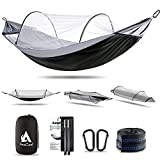 Hammock with Mosquito Net and Balance Spreader bar 2 Person Parachute Fabric Travel Hammock for Outdoor Camping Backpacking Travel Hiking Beach Backyard (Black&Grey)