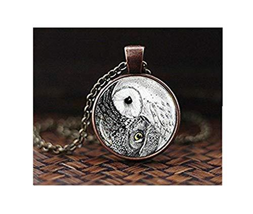 heng yuan tian cheng Uil yin yang Ketting, yin yang hanger, Uil Sieraden, Zen Ketting, Glas Dome Ketting, Kunst Hanger, Spirituele Hanger Yoga Gift