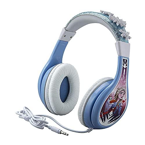 eKids Frozen 2 Kids Headphones, Adjustable Headband, Stereo Sound, 3.5Mm Jack, Wired Headphones for Kids, Tangle-Free, Volume Control Childrens Headphones Over Ear School Home (Hassle Free Packaging)