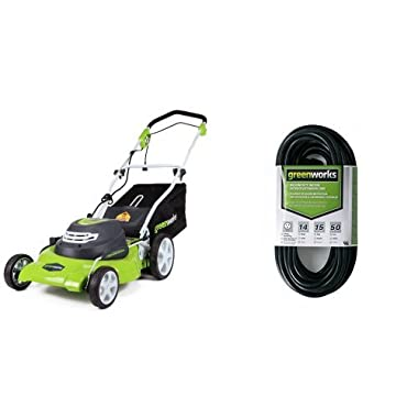 Greenworks 20-Inch 12 Amp Corded Lawn Mower 25022 with 50-Foot Indoor & Outdoor Extension Cord ECOA010