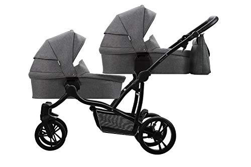 Bebetto Bebetto42 Simple Twin Zwillingskinderwagen & Geschwisterwagen Tandem KombiKinderwagen Duo Babywagen Buggy Kinderwagen System + Getränkehalter + Mückenschutz (Schwarz Dunkel-Grau 02, 3in1)