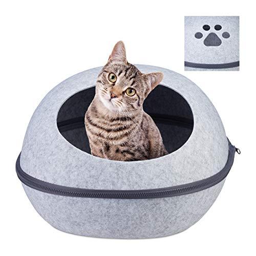 Relaxdays Katzenhöhle Filz, Moderne Filzhöhle für Katzen & kleine Hunde, Katzenbett m. Kissen, 25 x 38 x 47 cm, hellgrau
