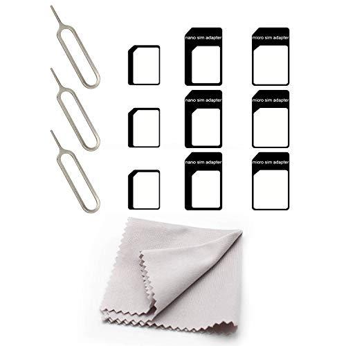 KINHARD Adattatori per Schede SIM, Adattatore SIM e ago, Nano to Micro 4 in 1 Kit Adattatore SIM Adatto Alla Maggior parte delle Marche di Cellulari e Tablet