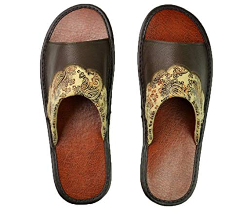 YLYMD Genuine Cow Leather Slippers Couple Indoor Non-Slip Men Women Home Fashion Casual Single Shoes PVC Soft Soles Spring Summer (eur Size:35-36)