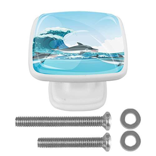 [4 pz] Solida manopola per armadio da cucina quadrata con cassetti e maniglie per armadietti, simpatici delfini che nuotano sotto l'oceano