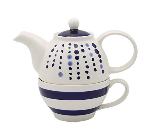 Juego de tetera y taza, diseño de lunares y rayas, color azul y blanco