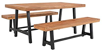Sophia & William Outdoor Patio 3 Pieces Acacia Wood Dining Set with 1 Table and 2 Benches, Modern Oil Finished Wooden Table and Benches Furniture for Patio Porch Balcony Backyard, Teak Color