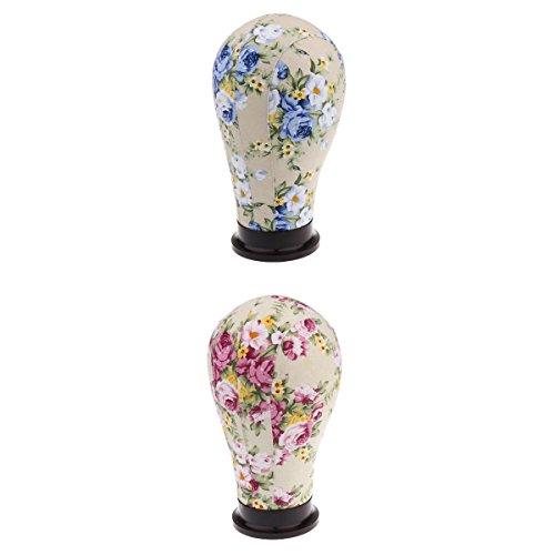 MagiDeal Kit 2pcs Tête Mannequin en Toile Floral Tête de Bloc Head Modèle Display Stand de Perruque Chapeau Casquette Lunettes 22\