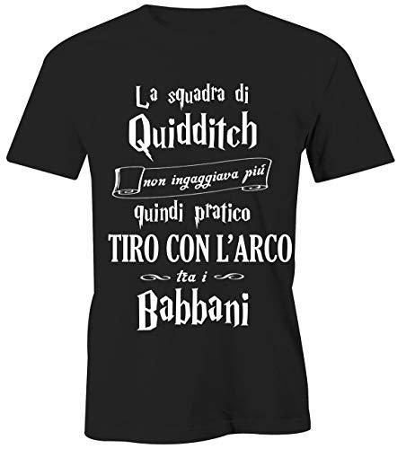 T-Shirt Harry Potter Tiro con L'Arco - Gioco tra i babbani- Quidditch - Hogwarts - Grifondoro - Serpeverde - Corvonero - Magliette Simpatiche e Divertenti