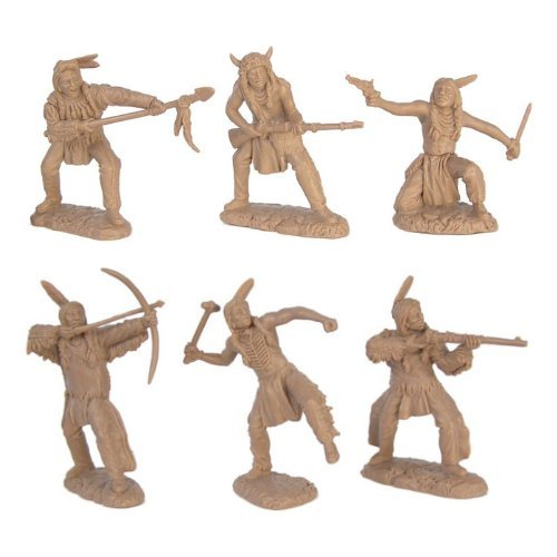 Plains Indian Warriors Plastic Army Men: 12 piece set of 54mm Figures - 1:32 scale by Toy Soldiers of San Diego