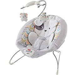 Deep & extra-cushy seat with soft, supportive head rest and newborn insert Removable mobile with 2 hanging toys, a puppy & a kitty Calming vibrations & 20+ minutes of music & sounds Adjustable 3-point restraint Lightweight design & non-skid feet