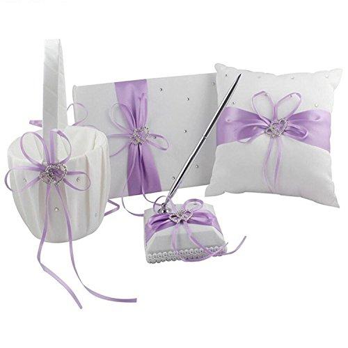 4Pcs Wedding Ceremony Romantic Decor Sets Elegant Ribbon Bowknot Double Heart Rhinestone Rustic Wedding Party Favor Decoration Kits, Wedding Ring Pillow+Girls Flower Basket+Guest Boo + Pen (Lavender)