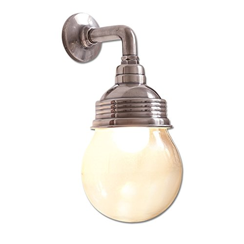 Loberon Wandlampe Rubi, Messing, Glas, H/T 30/18 cm, antiksilber/klar, E27, max. 40 Watt, A++ bis E