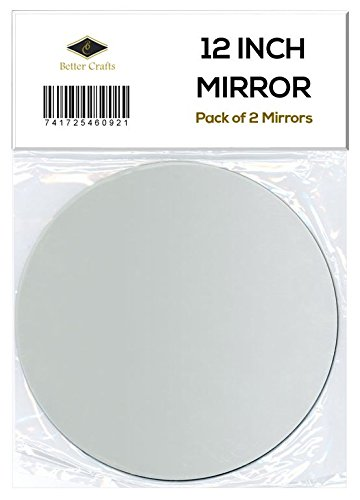 Better crafts 12 inch Round Glass Mirror Reflective - Set of 2