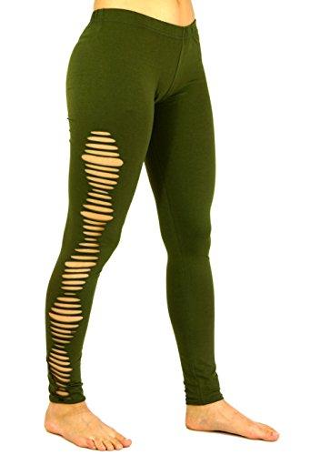 Guru-Shop Psytrance, Goa Damen Leggings Hose, Festival Yogahose, Olive, Baumwolle, Size:38, Shorts, Leggings Alternative Bekleidung