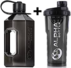 Alpha Bottle 750ml – 1L Protein Shaker XXL Water Bottle Jug 2 4L Black Strap and Smoke Black View amazon detail page Estimated Price : £ 19,99