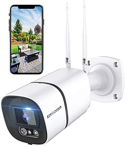 Telecamera di sorveglianza wifi da esterno, 1296P HD MP, Lega di alluminio e impermeabile IP66, disponibile con Alexa con funzione di visione notturna monitoraggio dell'esercizio, audio bidirezionale