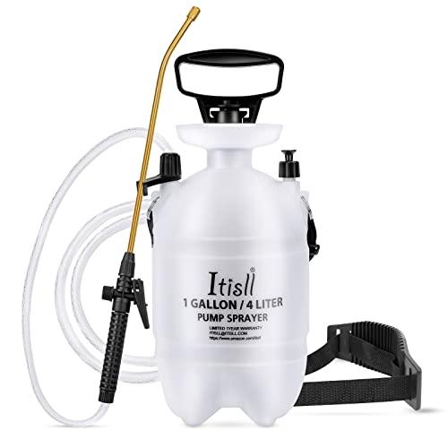 ITISLL Portable Garden Pump Sprayer Brass Wand Shoulder Strap for Yard Lawn Weeds Plants 1Gal