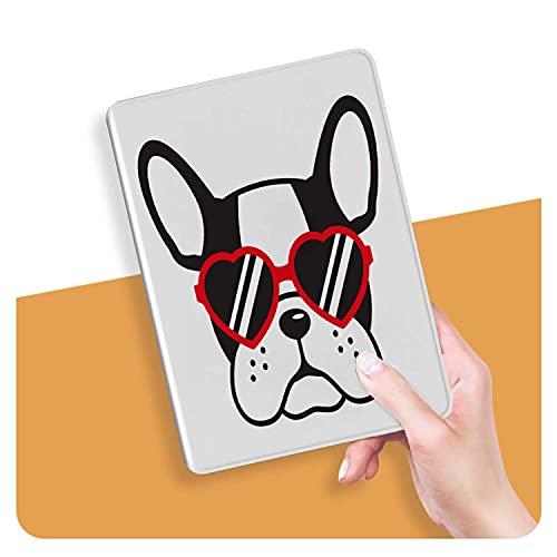 ZHOUHAOMAOYI Funda para iPad Air 4ª generación 10.9 pulgadas 2020, Bulldog francés Cara perro corazón gafas Ilustración Vector Cartoon 1 Auto Wake/Sleep para iPad Air 4 Generación 11.9 pulgadas 2020