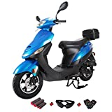 X-Pro 50cc Moped Scooter Gas Moped Scooter 50cc Moped Street Scooter with Gloves, Goggle and Handgrip (Black)