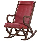 ACME Triton Rocking Chair - - Burgundy PU & Walnut
