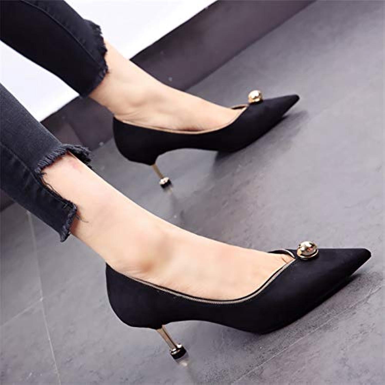 HOESCZS Elegante Schuhe mit mit mittlerem Absatz 2019 Herbst Neue Spitze Strass Stiletto hochhackigen flachen Mund einzelne Schuhe wild 5cm  Modemarken