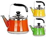 LHJCN Hervidor de Agua con Silbato de Gran Capacidad, hervidor de Agua de Acero Inoxidable 304, hervidor de Agua a Gas, eléctrico, Estufa de inducción Hervidor de té de Color Naranja, 4L