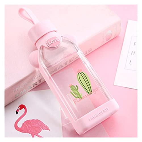 TJYEDUW Botella de agua de cristal, diseño de flor de cerezo, transparente, 350 ml, botella de vidrio deportiva, creativa, fresca, portátil, para exteriores, con tira (capacidad: 350 ml, color: 7)