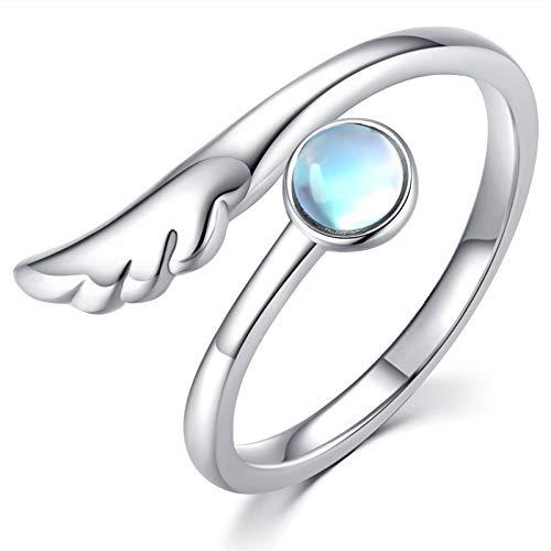 Månsten ringar för kvinnor, sterling silver änglavingar akvamarin ring damer fjäder ring tumme ringar för kvinnor justerbar ring för tå finger jul smycken för flickor mor e sterlingsilver, justerbar, cod. r50