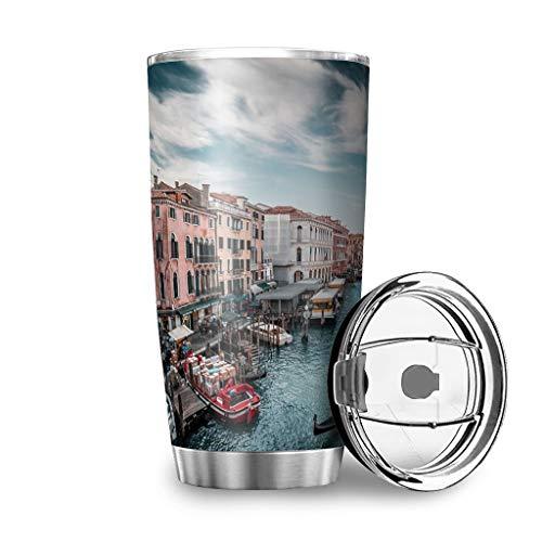 Taza de viaje Canal Grande Venecia con tapa a prueba de salpicaduras de acero inoxidable, diseño 3D, taza de café, taza de viaje, reutilizable, aislante, mantiene caliente y frío, para blanco 600 ml